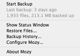 Mozy Desktop Status