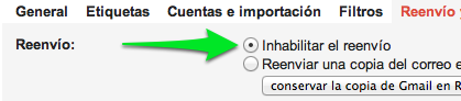 Gmail Seguridad - Inhabilitar el reenvio